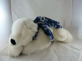 Russ Berrie White Polar Teddy Bear Iceberg with Blue Scarf 16 inch cuddl... - $19.79
