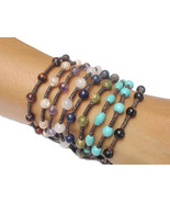 Handmade Turquoise BEADED Gemstone Fair Trade Jewelry Thai Wristband Bra... - $7.80