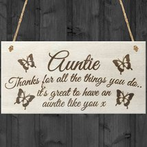 Auntie Thanks For All The Things You Do... Wooden Hanging Plaque Sign  - $12.99
