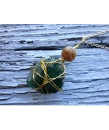 Seagift necklace: Green, rock like, Estonian sea glass w gold wirework &... - $29.00