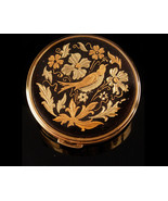 Mourning Bird Compact - Victorian scene - vintage compact - etched flowe... - $95.00