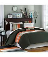 Taupe & Orange Colorblock Duvet Cover Bedding Set AND Decorative Pillow-... - $69.99