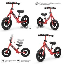 Walking Bicycle No Pedal With Carbon Steel Frame Adjustable Handlebar An... - $87.67