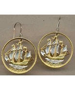 British ½ penny (Old Sailing ship) gold and silver cut coin jewelry ear... - $147.00