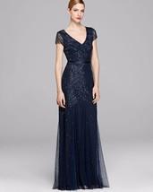 Adrianna Papell Beaded Mesh Gown Dress Sz 6 Navy - $143.55