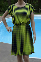 Ellen Tracy Womens Size S M L Green Navy Striped Sheath Dress Knee Length - $20.98