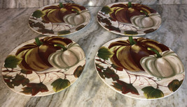 "Royal Norfolk Dinner Plate Set of 4 Stoneware 10.5""Fall Pumpkin Thanksgi... - $48.88"