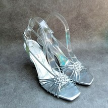 "Anne Klein Womens   Size 9 Silver  Strappy Slingback 4"" Heels - $19.99"