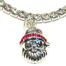 Anklet Santa Claus Clear Crystal Charm Dangle Stretch 9 Inch Christmas Holiday - $21.99