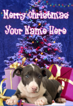 Pit Bull Terrier Puppy Dog Merry Christmas Personalised Greeting Card co... - $4.42