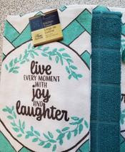 Kitchen Set 11pc Towels Dishcloths Mitts Placemats, Live Joy Laughter, Turquoise image 7