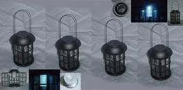 Four (4) iron & glass solar light yard garden carriage lanterns, outdoor... - $74.00