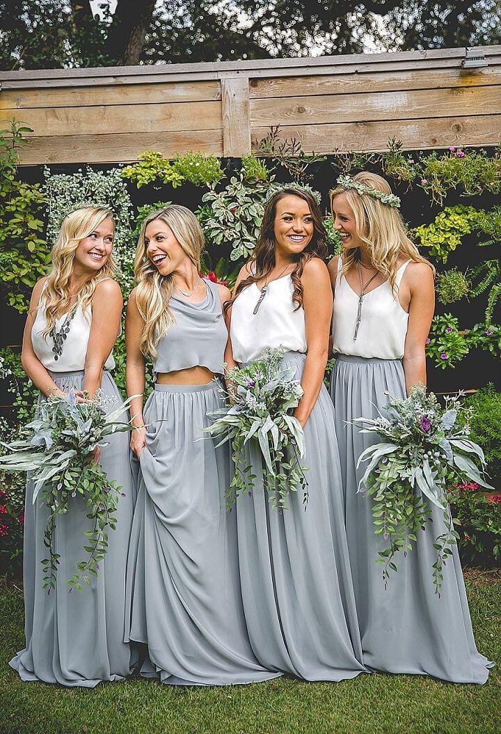 Wedding chiffon skirt silvergray