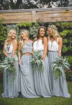 Silver Gray Chiffon Bridesmaid Skirt Floor Length Chiffon Wedding Party Skirt image 1