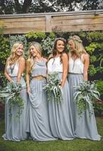 Silver Gray Chiffon Bridesmaid Skirt Floor Length Chiffon Wedding Party Skirt image 1