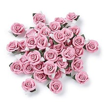 Beadthoven 20-Piece Flat BackPink Rose Handmade (0Pink Clay Rose#23~25mm) - $19.08