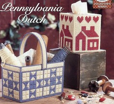 Pennsylvania Dutch Basket & Tissue Cover Plastic Canvas Pattern Leaflet NEW - $1.77