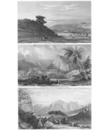 MIDDLE EAST Sinai Wady Moketteb Ruins of Feiran - 1860s Steel Engraving ... - $13.05
