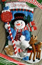 Bucilla Santa Stop Here Snowman Deer Bunny Christmas Felt Stocking Kit 86707 - $42.95