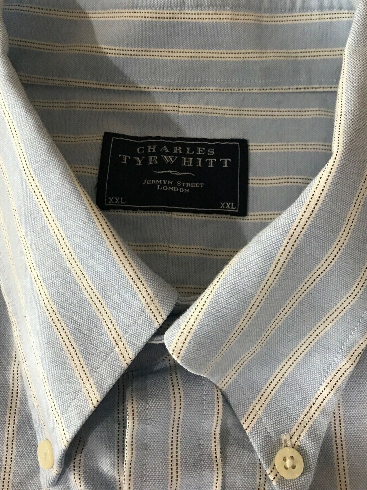 Charles Tyrwhitt Men's Button Down Long Sleeve Blue Stripe Oxford Shirt XXL  image 6