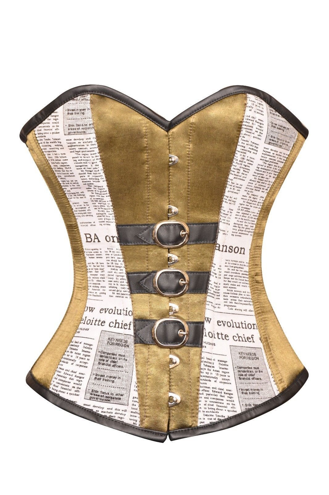 Alpine Yellow Satin Black Newspaper Print Cotton Gothic Overbust Corset Costume