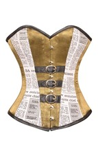 Alpine Yellow Satin Black Newspaper Print Cotton Gothic Overbust Corset ... - $69.29+