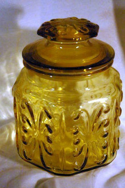 Primary image for L E Smith Atterbury Scrolls Amber Glass Small Canister 6 1/2""