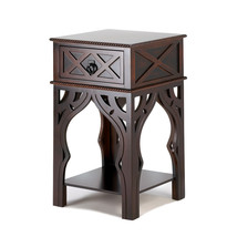 Wood Side Table, Espresso Side Tables With Drawers, Moroccan-style Side ... - $159.78