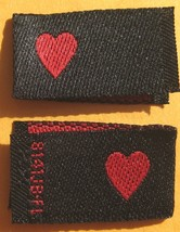 250 WOVEN CLOTHING LABELS, BLACK WITH RED LOVE ... - $13.71