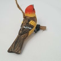 Carved Wood Bird Western Tanager Hanging Ornament Red Head Yellow Body Perched image 5