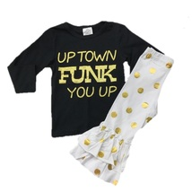 Cute Kids Clothing Toddler Girl Outfit Uptown Funk You Up Black Gold Pol... - $31.49