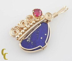 Handmade Art Deco Gold Filled Wire Coil Lapis Lazuli & Pink Tourmaline P... - $548.86
