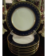 Pirkenhammer of Bavaria, Austria Cobalt And Gold Dinner Plates - Set of 8 - $600.00