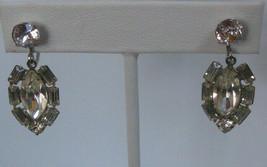 Vintage Signed Marvella Clear Rhinestone Dangle Screw-back Earrings - $34.65
