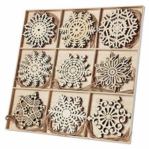 N&T NIETING 27pcs Wooden Snowflakes Shaped Embellishments Hanging Orname... - $22.94
