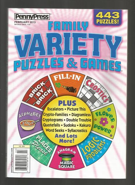 443 Family Variety Puzzles & Games,Feb 2013,New PennyPress Softcover Puzzle Book