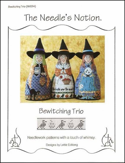 Bewitching Trio halloween cross stitch chart The Needle's Notion