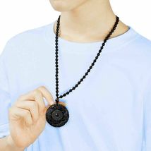 Lucky Pendant Necklace Natural Obsidian Carved Chinese Dragon Phoenix Bagua image 6