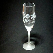 2 (Two) AVON HUMMINGBIRD Etched Crystal Champagne Flutes Frosted Stems France image 2