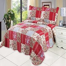 English Roses Bedding Quilt Bedspread Coverlet 2 PC Reversible Twin Set - $92.00