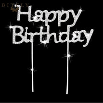 BIT.FLY® Happy Birthday Bling Diamond Crystal Cake Insert Card Alloy Dec... - €5,59 EUR