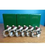 Avon Snowman holding Wreath Napkin Rings Lot of 6, origional boxes Chris... - $19.75