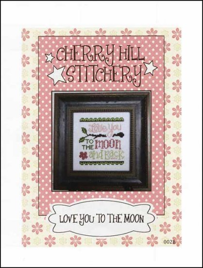 Love You Too The Moon cross stitch chart Cherry Hill Stitchery