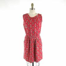 P / XS - Steven Alan Red Ikat Bleeding Madras Sleeveless Open Back Dress... - $36.00
