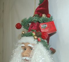 Sterling 382463 Santa Head 24 Inches Burgundy Hat Veining Greenery Berries image 4