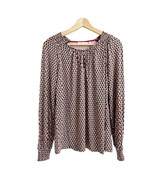 BODEN Printed Pullover Top Sz 6 Pink Navy Long Sleeves Keyhole Stretchy - $32.71