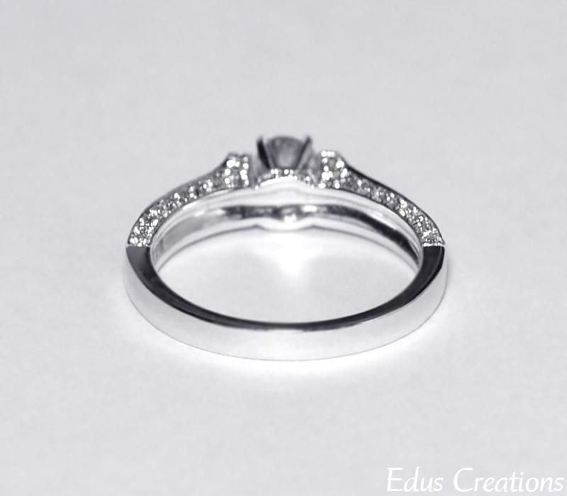 Natural Round Diamond Engagement VIntage Ring Women 14K White Gold 1.00 Carat