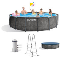 Intex 15ft x 48in Greywood Prism Steel Frame Pool Set with Cover, Ladder, & Pump - $1,999.99