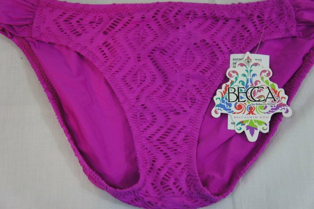 Becca Bikini Bottom Sz L Pink Crochet Shirred Sides American Fit Pant 584347