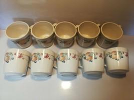 Corning Ware Corelle Abundance Coffee Cups Mugs - Set of 10- Fruit Pattern - USA - $39.59